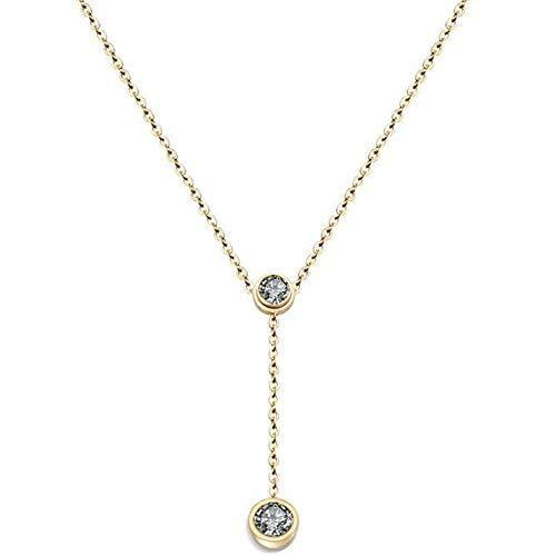 Jude Jewelers Stainless Steel Cubic Zircon Classical Statement Collar Chain Necklace (Gold)