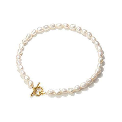 YorzAhar Freshwater Cultured Pearl Choker Necklace Handpicked Pearl Strand Chain for Women Jewelry Necklace Gold Love Heart Clasp