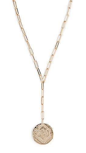 gorjana Women's Ana Coin Lariat Necklace, 18k Gold Plated, Etched Charm