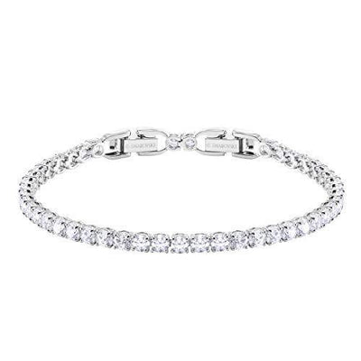 SWAROVSKI Women's Deluxe Tennis Bracelet Rhodium Plated Rose Cut Stone, White Crystal