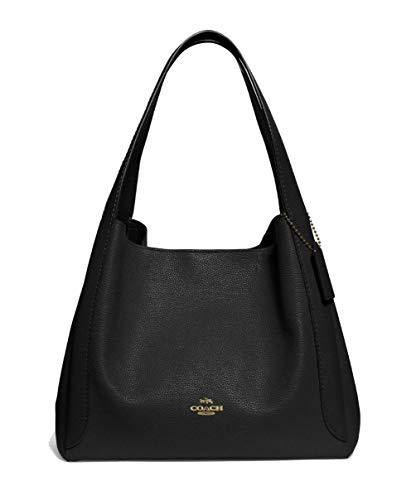 COACH Polished Pebble Leather Hadley Hobo Black/Gold One Size