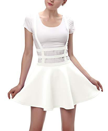 Urban CoCo Womens Elastic Waist Pleated Short Braces Skirt (Large, White)