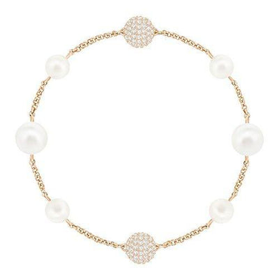 SWAROVSKI Women's Remix Collection Round Pearl Strand, White, Rose-gold tone plated