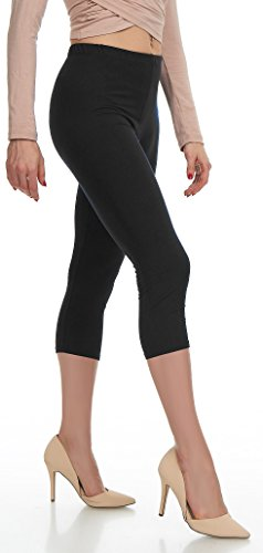 Lush Moda Extra Soft Capri Leggings - Variety of Colors - Black  One Size fits Most (XS - XL)