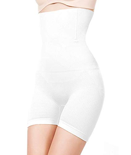 ShaperQueen 102E Short - Women Waist Cincher Girdle Tummy Slimmer Shapewear High Waisted Shaper Short… (L, White)