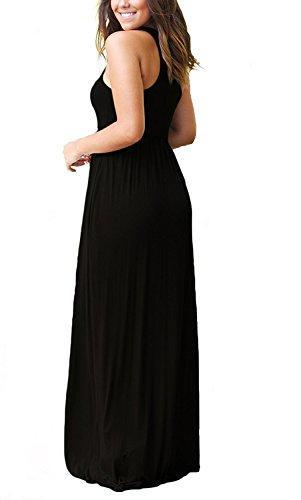 GRECERELLE Women's Round Neck Sleeveless A-line Casual Maxi Dresses with Pockets Black-Medium