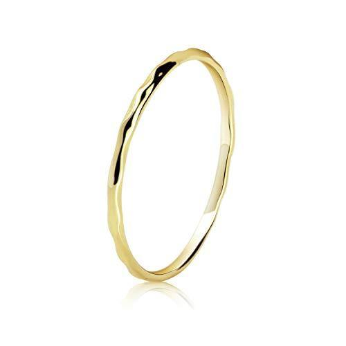 Stacking Thin Ring 14K Gold Plated Wedding Band Stackable Ring Delicate Minimal Simple Hammered Ring for Women Girls, Size 8