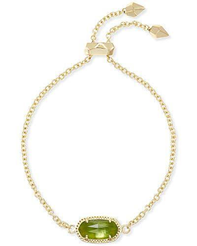 Kendra Scott Elaina Link Chain Bracelet for Women, Dainty Fashion Jewelry, 14k Gold-Plated Brass, Peridot Illusion