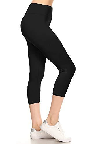 LYCPEX128-BLACK Yoga Capri Solid Leggings, Extra Plus