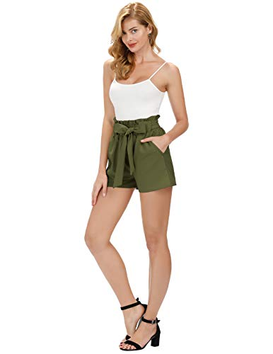 GRACE KARIN Women's Casual Elastic Belted Solid Short Pants M Army Green