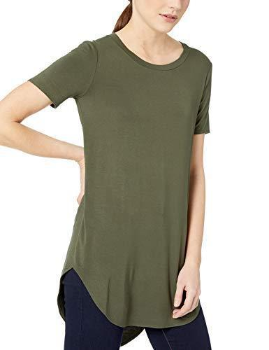 Amazon Brand - Daily Ritual Women's Jersey Short-Sleeve Open Crewneck Tunic, Forest Green, Medium - PRTYA