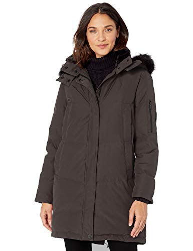 Vince Camuto Women's Long Heavyweight Warm Winter Coat Parka, Charcoal, Small