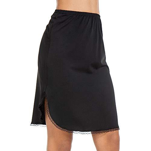 Half Slips for Women Underskirt Short Mini Skirt with Floral Lace Trim (Lace Trim Black, Medium (US 8-10))