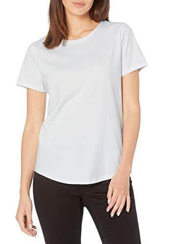 Amazon Essentials Women's 2-Pack Classic-Fit 100% Cotton Short-Sleeve Crewneck T-Shirt, Black/White, Medium - PRTYA
