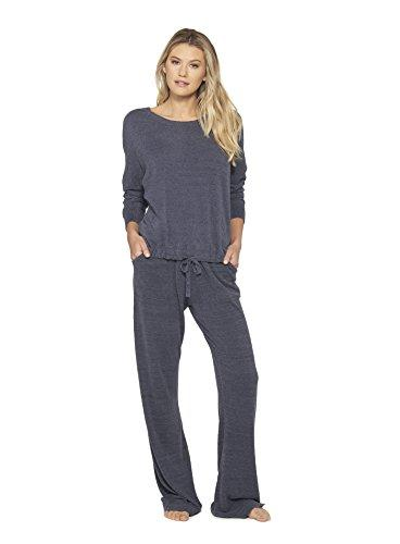 Barefoot Dreams CozyChic Ultra Lite Slouchy Pullover for Women, Ultra Soft Long Sleeve, Crew Neck, Pacific Blue Pullover - PRTYA