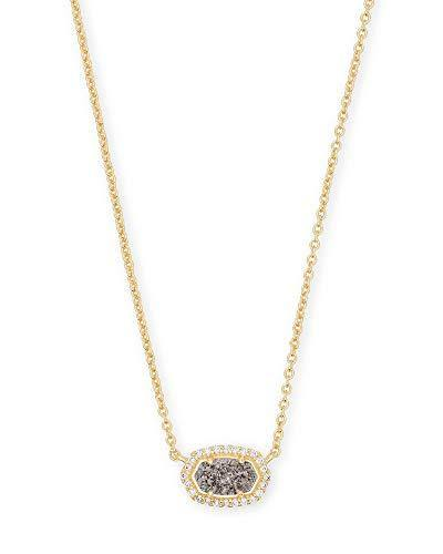 Kendra Scott Chelsea Pendant Necklace in Platinum Drusy CZ and Gold