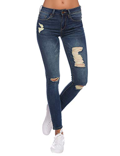 Resfeber Women's Ripped Skinny Jeans Stretch Distressed Jeans Comfy Destroyed Jeans with Holes