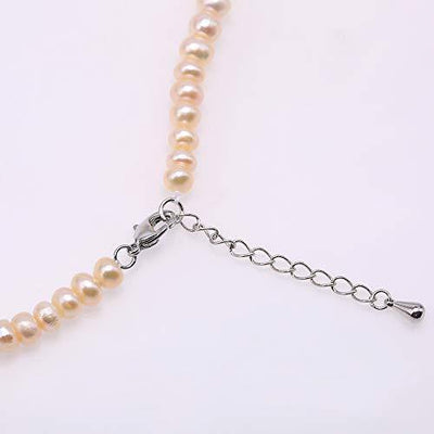 "JYXJEWELRY Women Pearl Choker 5.5mm Flat Round Pink Cultured Freshwater Pearl Necklace 16.5"" + 2"" Tail Chain"