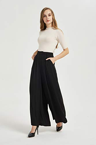 Tronjori Women High Waist Casual Wide Leg Long Palazzo Pants Trousers(L, Black)