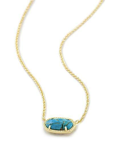 Kendra Scott Elisa Pendant Necklace for Women, Fashion Jewelry, 14k Gold-Plated, Bronze Veined Red Turquoise