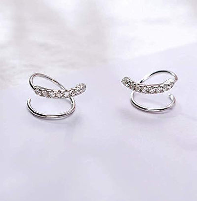 Minimalist 925 Sterling Silver Cuff Earrings for Women Teen Girls Fashion Wrap Earrings