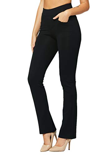 Premium Women's Stretch Dress Pants - Wear to Work - Ponte Treggings - Bootcut - Midnight Black - L