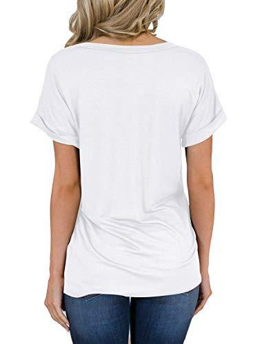 MIHOLL Womens Shirts Casual Tee Shirts V Neck Short Sleeve Loose Fits Tops Blouses (White, Medium)