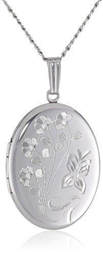 Sterling Silver Engraved Flowers Oval Locket, 20""