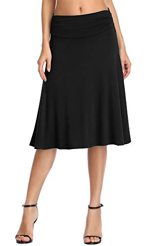 Urban CoCo Women's Ruched Waist Stretchy Flared Yoga Skirt (L, Black)