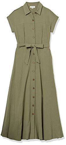 Calvin Klein Women's Short Sleeve Button Front Shirt Dress with Self Belt, Olive, 14 - PRTYA