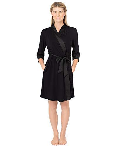 Kindred Bravely Emmaline Maternity & Nursing Robe Hospital Bag/Delivery Essential (Black, Small-Medium)