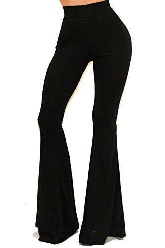 Vivicastle Women's Boho Comfy Stretchy Bell Bottom Flare Pants (Solid Black, Large)