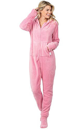 PajamaGram Womens Onesie with Hood - Adult Footie Pajamas, Pink, 2X / 20-22
