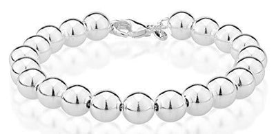 Miabella 925 Sterling Silver Italian Handmade 8mm Bead Ball Strand Chain Bracelet for Women 7, 7.5, 8 Inch Made in Italy (7.5)