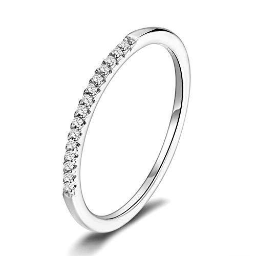 Presentski Stackable Rings 925 Sterling Silver Simple Hypoallergenic CZ Stimulated Diamond Stacking Hoop Ring Eternity Bands Size 8 for Women Girls