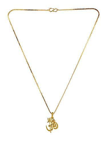 Efulgenz 14 k Gold Plated Cubic Zirconia Religious OM Pendant Chain Necklace Jewelry for Women Girls