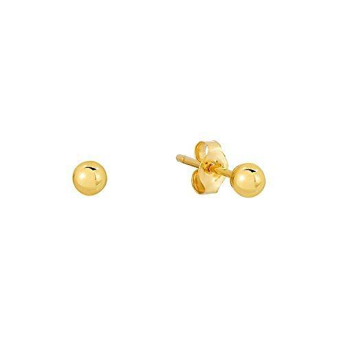 14k Yellow Gold Polished Ball Stud Earrings with Butterfly Pushback (3mm)