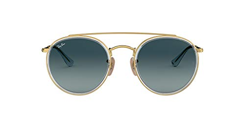 Ray-Ban RB3647N Round Double Bridge Sunglasses, Gold/Blue Gradient, 51 mm