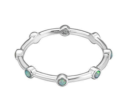Energy Stone Ferris Wheel Japanese Opalite Sterling Silver Stacking Ring (Style# ST07) (Green, 9)