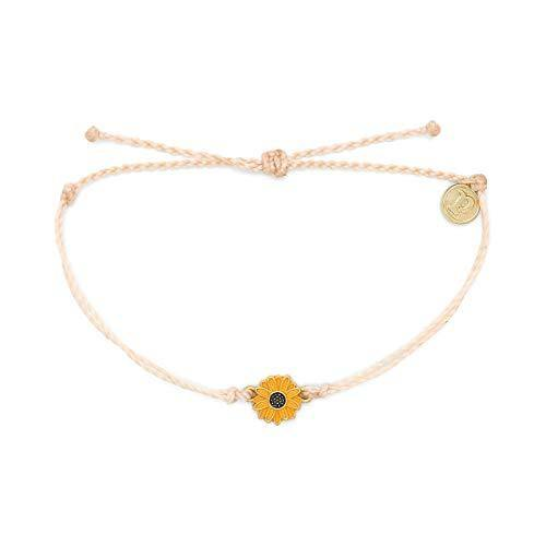 Pura Vida Gold Enamel Sunflower Bracelet - Plated Charm, Adjustable Band - 100% Waterproof - Vanilla