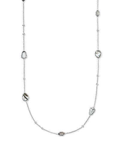 Kendra Scott Gwenyth Long Strand Necklace for Women, Dainty Fashion Jewelry, Rhodium-Plated, White Mix