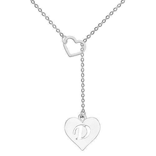 SENFAI Heart Shaped Y Necklace with 26 Initial Alphabet Letters for Women, 18 + 2 inches (D, Rhodium/Silver)