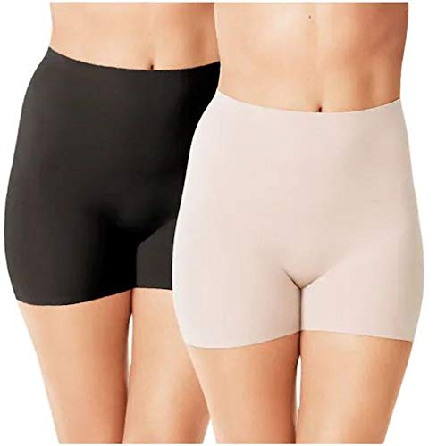 Warner's Women's No Pinching. No Problems. Thigh Slimming Shapewear Shorties (2 Pack), Nude/Black, X-Large