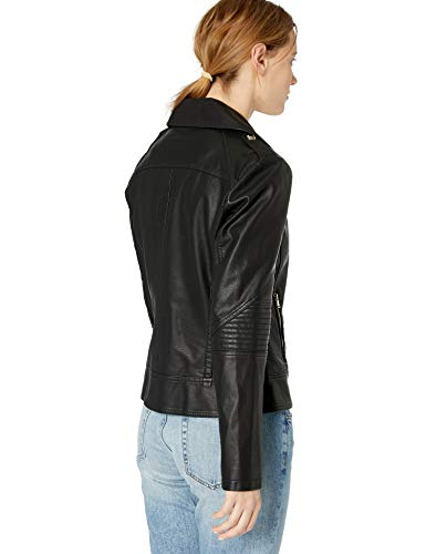 GUESS Women's Faux Leather Jacket, Moto Black, Medium