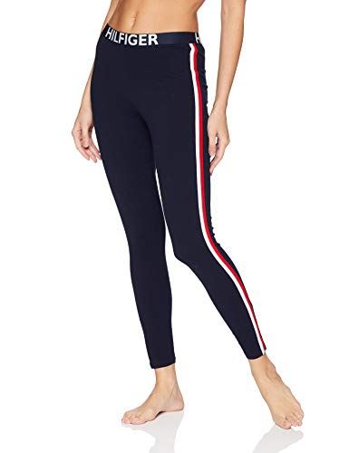 Tommy Hilfiger Women's Retro Style Hilfiger Logo Graphic Leggings Pant Lounge Pj, Navy Blazer Blue with Bright White/Apple red, Large