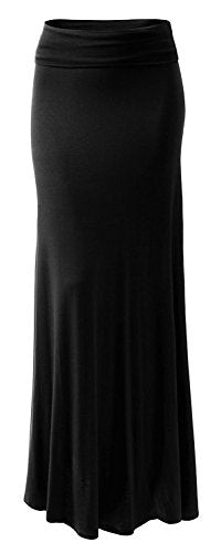 URBAN K Womens Basic Foldable High Waist Regular and Plus Size Maxi Skirts Black
