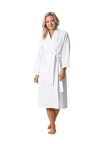 Premium Turkish Cotton Waffle Weave Lightweight Kimono Spa Bathrobe for Women (White, Medium)
