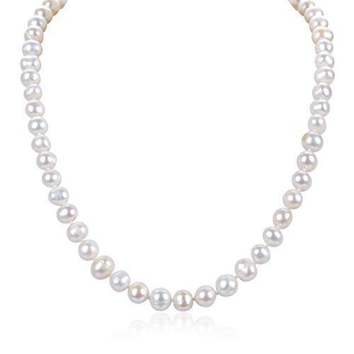 Natural A Quality Round White Cultured Freshwater Pearl Necklace 18 inch Jewelry for Women Girls Mom Gift PN1-18-89