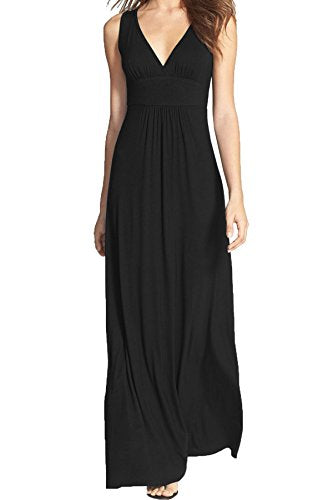 WOOSEA Women Sleeveless Deep V Neck Loose Plain Long Maxi Casual Dress (Black, Medium)