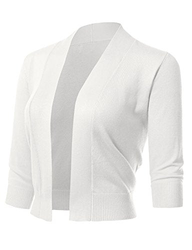 Women's Classic 3/4 Sleeve Open Front Cropped Cardigans (S-3XL) L White
